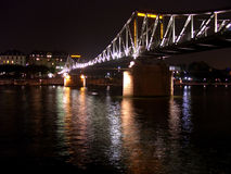 German Night. A lit up bridge in germany at night time Stock Photo