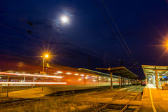 German night train departing from Offenburg Royalty Free Stock Image