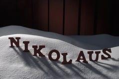 German Nikolaus Means Santa Claus On Snow Royalty Free Stock Photography