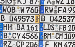 German number plates on a wall Royalty Free Stock Images