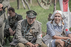 German officer and a nurse Royalty Free Stock Photo