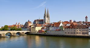 German old town Regensburg at the river Danube stock photo