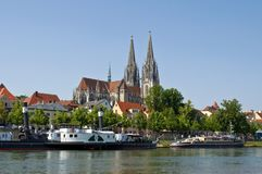 German old town Regensburg at the river Danube stock photography