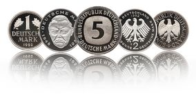 German one, two and 5 mark Germany coins royalty free stock photo