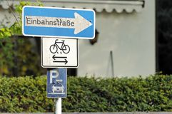 German one way sign Stock Photos