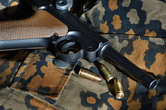 German Parabellum pistol with cartridges Royalty Free Stock Photo