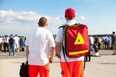 German paramedics stands on an airfield Royalty Free Stock Photo