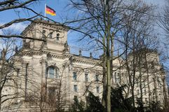 GERMAN PARLIAMENT BUILDING REICHTAG AND BUNDESTAG. Berlin /Germany . 05 March 2019. German and europeain nion flags fly over German bundestag or reichtag and royalty free stock photo