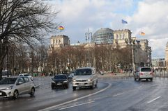 GERMAN PARLIAMENT BUILDING REICHTAG AND BUNDESTAG. Berlin /Germany . 05 March 2019. German and europeain nion flags fly over German bundestag or reichtag and royalty free stock photography