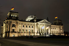 German Parliament, Reichstag. The German parliament building in Berlin called the Reichstag at night time Royalty Free Stock Photography