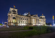 German parliament (Reichstag) building in Berlin at night Royalty Free Stock Photo