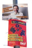 German parties CDU and DKP political campaign posters. Berlin, Germany - April 16, 2019: Political campaign posters of the CDU and DKP parties for the European stock photography