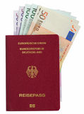 German pass with Euro notes Stock Photo