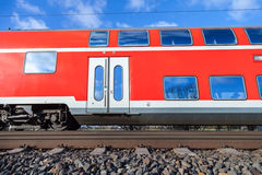 German passenger train. Drives to the next station stock images