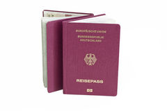 German Passport 01. German passports on white background stock photos