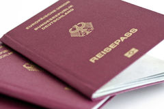 German Passport 02. German passports on white background royalty free stock photography