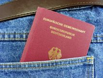 German passport in back pocket Stock Images