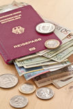 German passport and different currencies Royalty Free Stock Photo