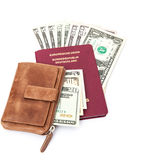 German passport with dollar notes and wallet Stock Photos