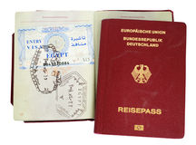 german passport with egypt visa Stock Images