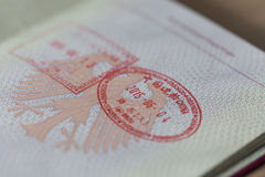 German Passport with Entry and Exit Stamp Stock Image