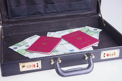 German passports with Euro bills in a briefcase Stock Photo