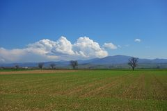 German pastoral landscape. A green field with distant mountain view royalty free stock photo
