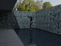 German Pavilion, Barcelona, Mies Van der Rohe. 3D illustration Stock Images