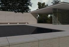 German Pavilion, Barcelona, Mies Van der Rohe. 3D illustration Royalty Free Stock Image