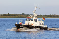 German Pilot Boat on Elbe river Royalty Free Stock Image