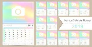 German planning calendar 2019. German calendar planner 2019, week starts on Monday, set of 12 months January - December, calendar template size A4, simple stock illustration