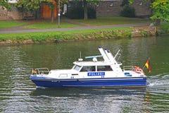 German police boat. On patrol on river Mosel, near Berkastel-Kues royalty free stock photos