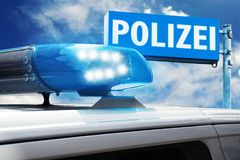 German police car in action royalty free stock images