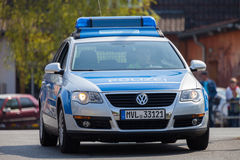 German police car drives on a street Royalty Free Stock Photography