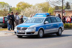 German police car drives on a street Royalty Free Stock Image