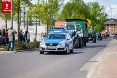 German police car drives on a street. ALTENTREPTOW / GERMANY - MAY 1, 2018: German police car drives on a street during an Oldtimer Show stock photography