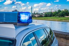 German police car. In action stock images