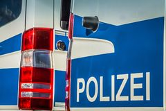German police car. In action royalty free stock photo