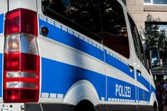 German police car. In action stock image