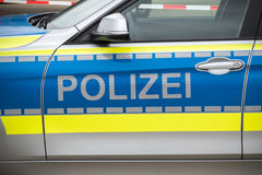 German Police car. Polizei marks on a German Police car Stock Images
