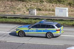 German police car on the road Royalty Free Stock Photos