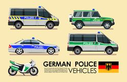 German police cars vehicles emergency transport  set. Police cars of Deutsche flat design collection Stock Image