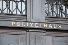 German police house signboard Stock Photo