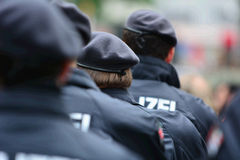 German police. Many German police on a demo royalty free stock images