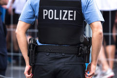 German police officer. A plain german police officer in the streets Stock Photos