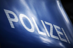 German police, polizei. Front hood of German police car Stock Image