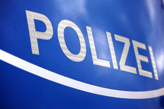 German police, polizei. Front hood of German police car Royalty Free Stock Photo