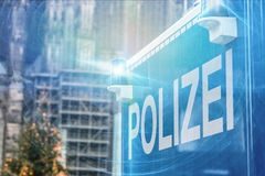 German police sign blue warning light Royalty Free Stock Photography