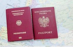 German and polish passport Stock Photos