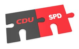 German Politics Grand Coalition Concept: CDU And SPD Puzzle Pieces, 3d illustration isolated on white background. BERLIN, GERMANY - NOVEMBER 27, 2017: German vector illustration